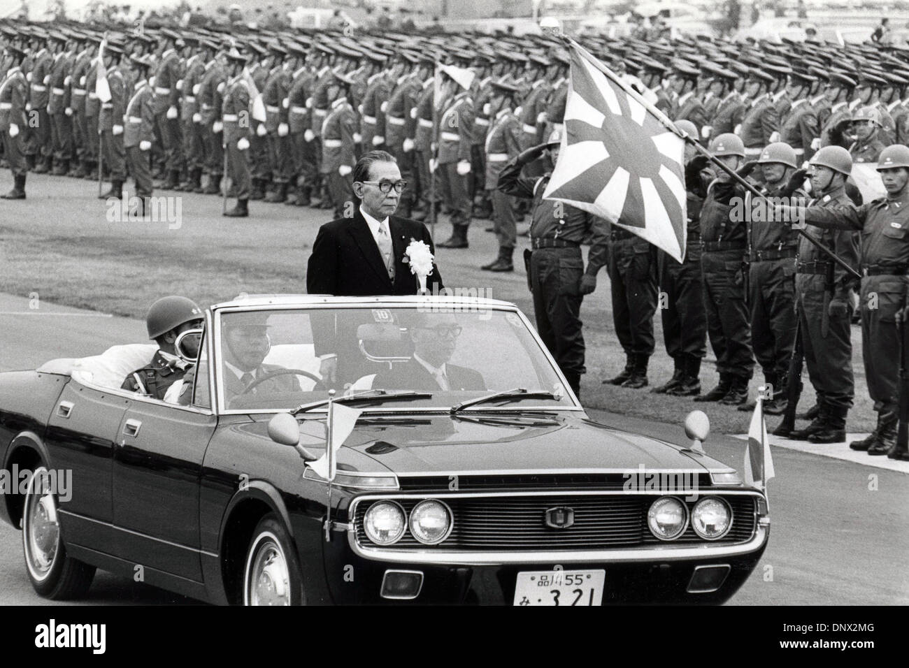 Oct 05, 1975 - Tokyo, Japan - Prime Minister of Japan TAKEO MIKI reviews troops from his car during an examination of the Japanese military. Exact date unknown. (Credit Image: © KEYSTONE Pictures/ZUMAPRESS.com) - Stock Image