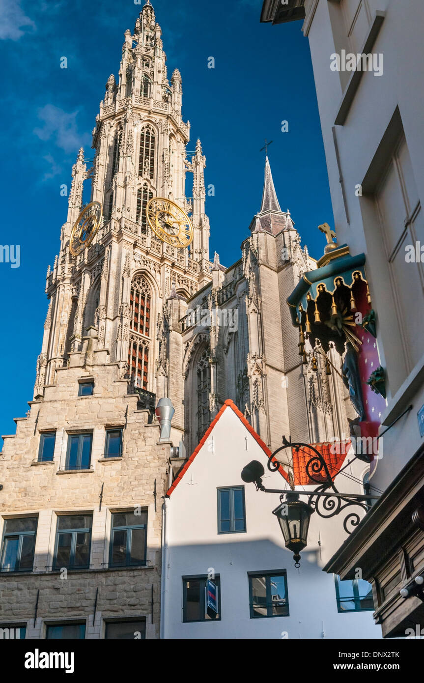 Cathedral spire and street corner shrine Antwerp Belgium - Stock Image