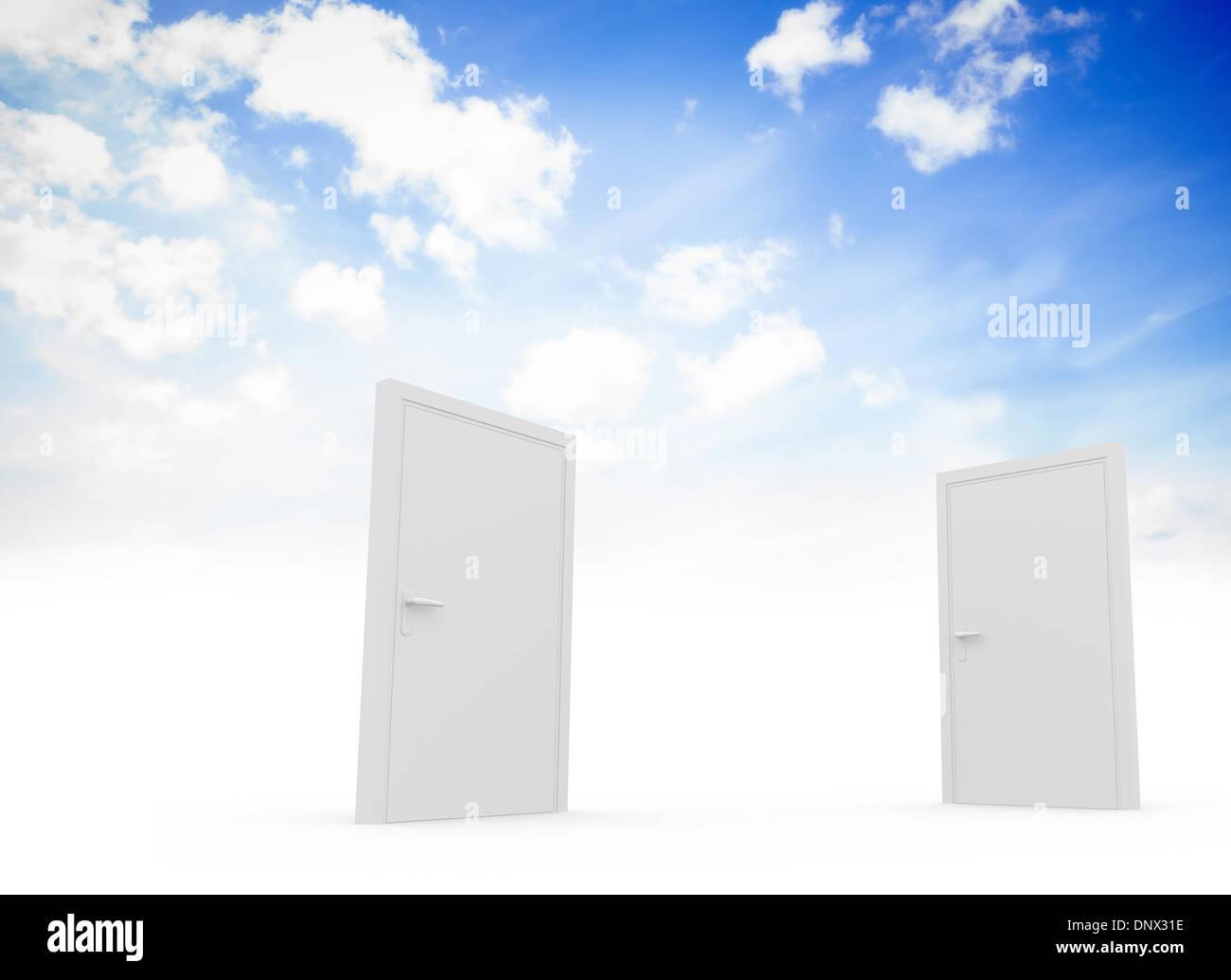 Closed doors in sky Stock Photo