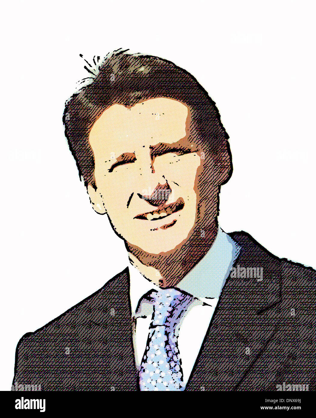 Lord Sebastian Coe portrait in half-dot cartoon form. - Stock Image