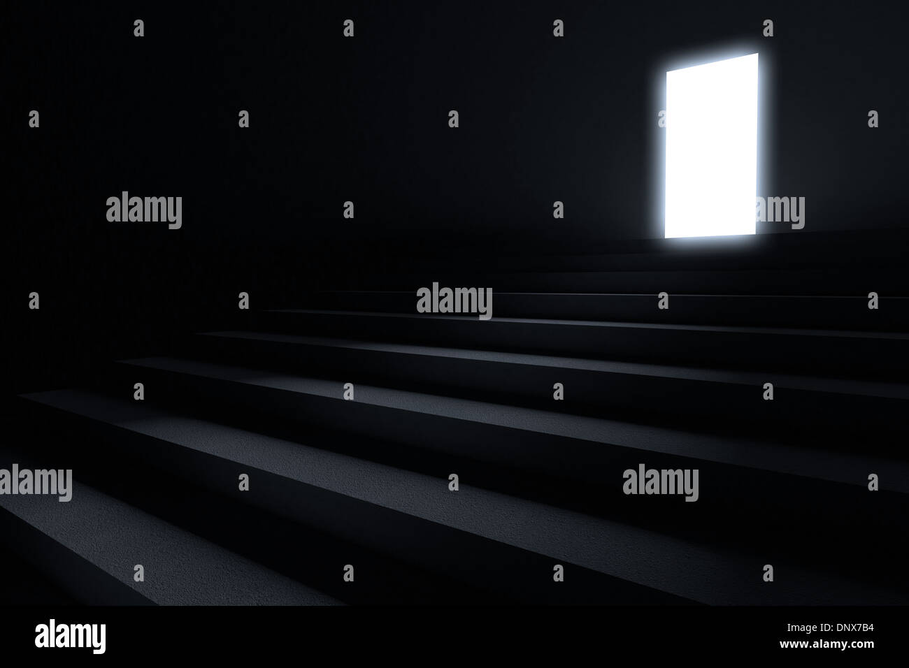 Steps leading to light in the darkness - Stock Image