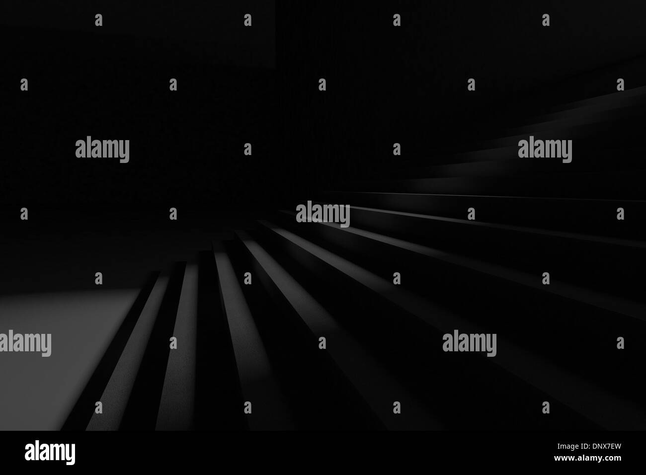 Steps in the darkness - Stock Image