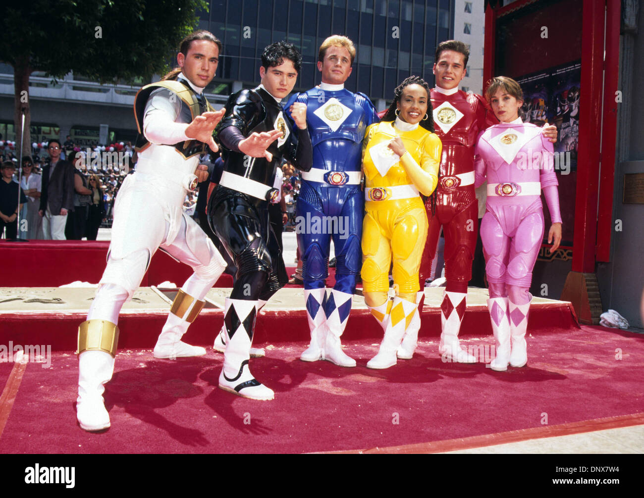 Jan. 1, 1995 - Hollywood, California, U.S. - Exact Date Unknown.MIGHTY MORPHIN' POWER RANGERS.Put Their Hands, Feet, Signatures in Cement. 01/01/1995(Credit Image: © Lisa Rose/Globe Photos/ZUMAPRESS.com) - Stock Image