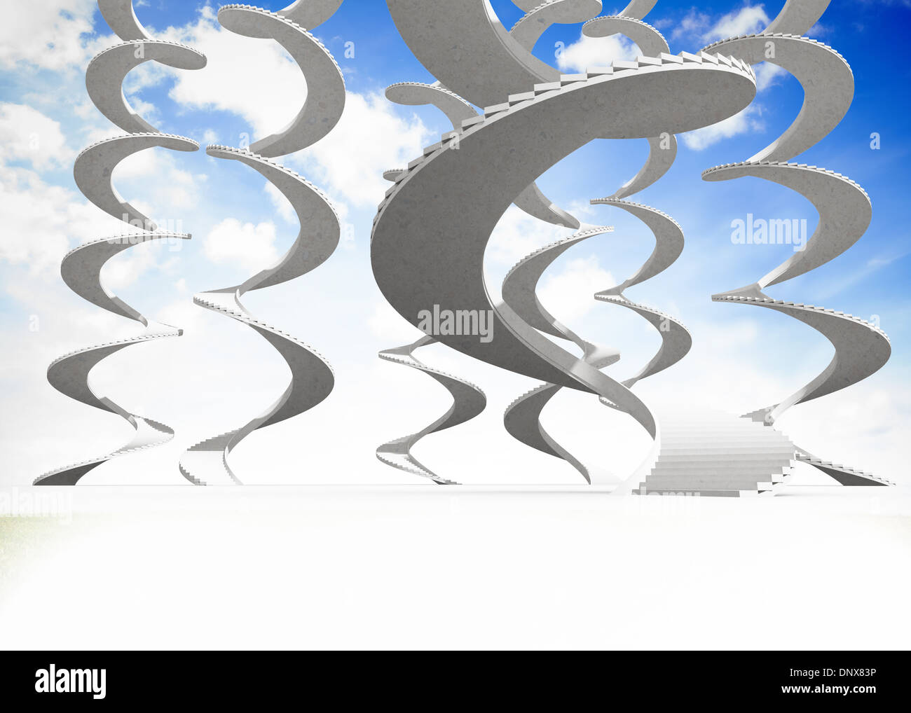 Spiral staircases in the sky - Stock Image