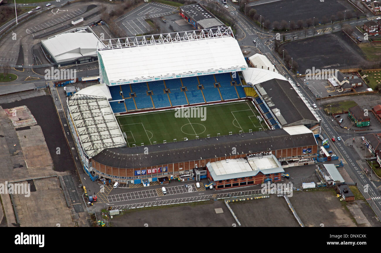 aerial view of Leeds United Elland Road stadium - Stock Image