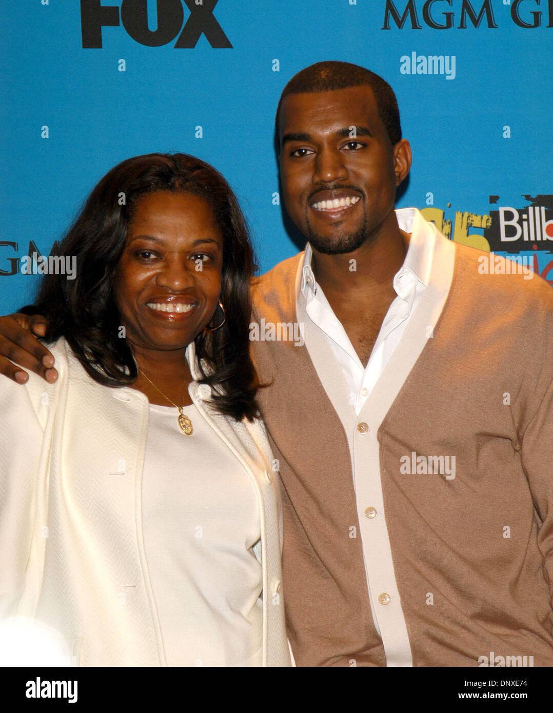 Dec 06, 2005; Las Vegas, NV, USA; KANYE WEST & his mother at the 2005 Billboard Music Awards at the MGM Grand Garden Stock Photo