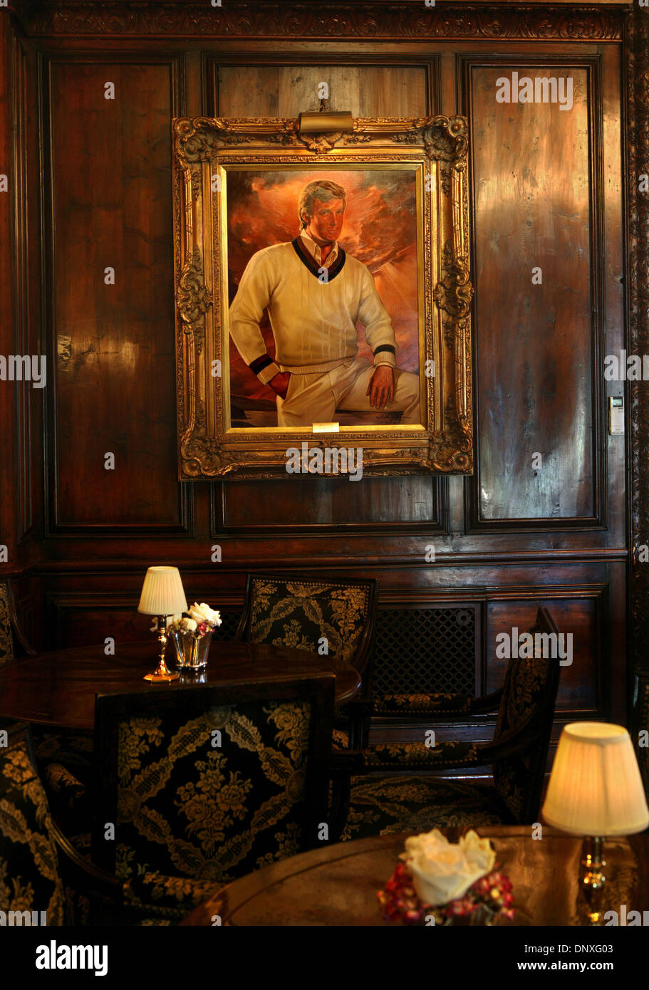 Dec 12, 2005; Palm Beach, FL, USA; US Tabloid Sales OUT!   US MAGS and TV CALL 1-310-397-9165 or (561) 392- 7856 for Price!  A portrait of Trump inside the bar. Photos of the interior and exterior of Donald Trump's Palm Beach Island home ''Mar-A-Lago.''   Mandatory Credit: Photo by Damon Higgins/Palm Beach Post/ZUMA Press. (©) Copyright 2005 by Palm Beach Post - Stock Image