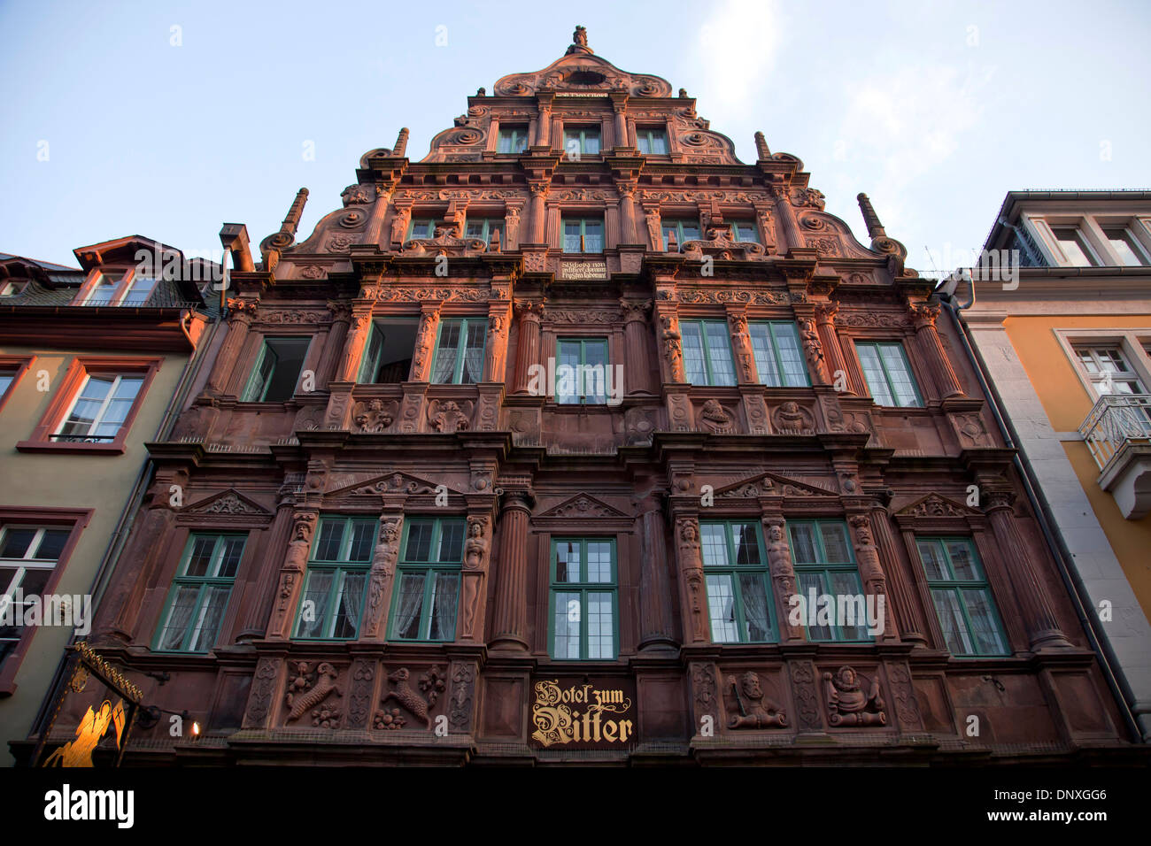 Hotel Zum Ritter in the old town , Heidelberg, Baden-Württemberg, Germany - Stock Image