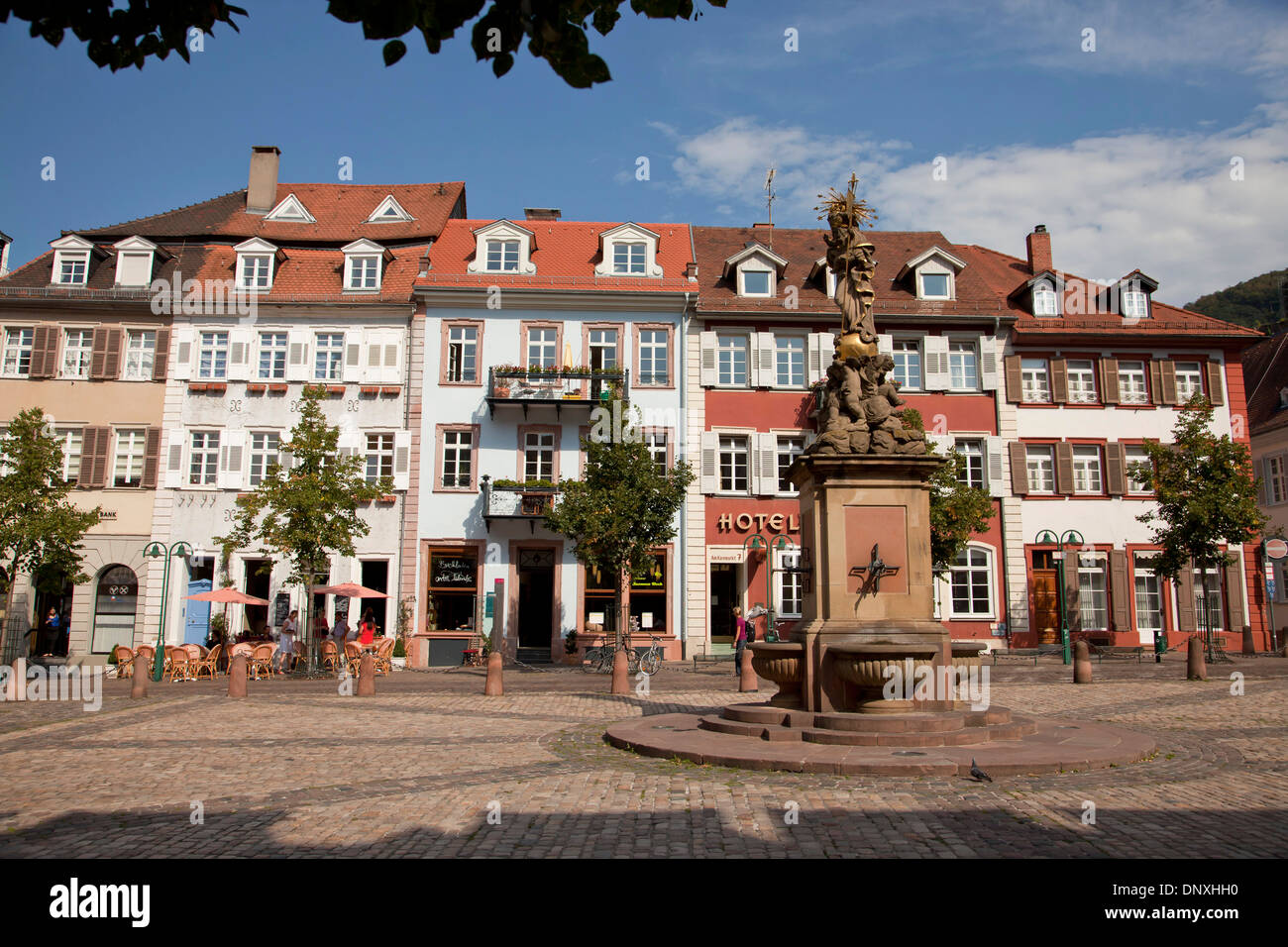 The Kornmarkt (Corn Market), market square with Madonna statue in the old part of twon, Heidelberg, Baden-Württemberg, - Stock Image