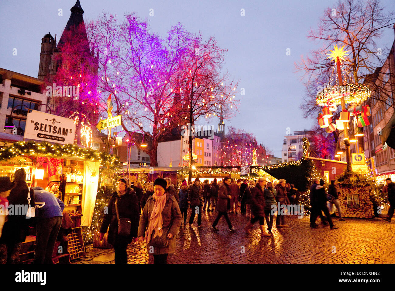 christmas market cologne at dusk the old market or alter markt cologne - Cologne Christmas Market