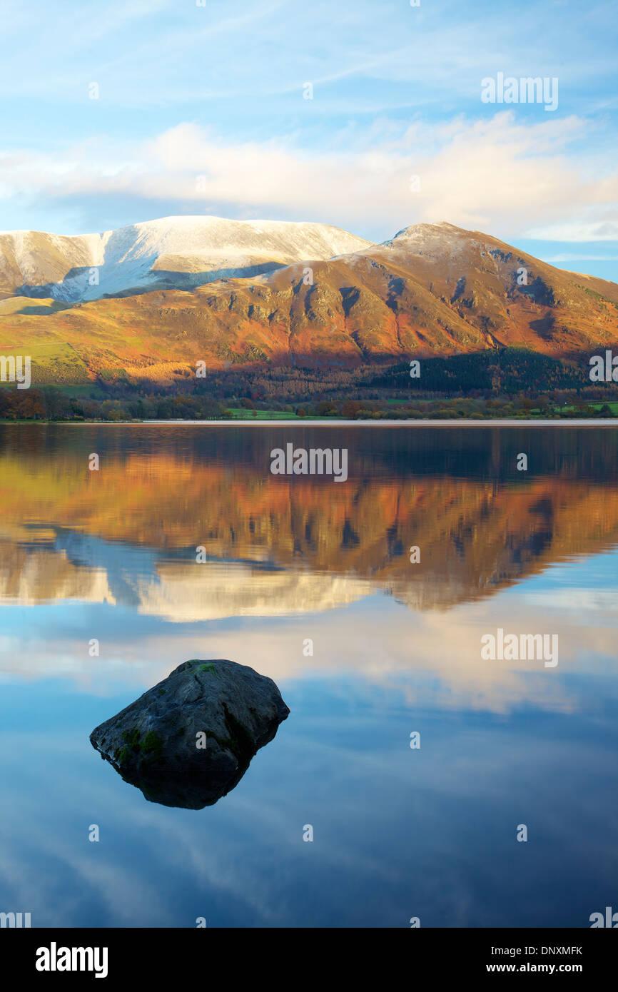 Bassenthwaite Lake with Skiddaw and Ullock Pike Lake District National Park Cumbria England United Kingdom Great Britain - Stock Image