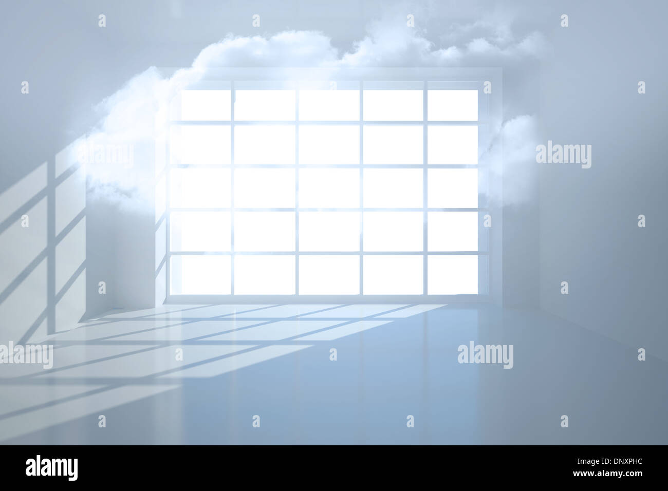 Room with holographic cloud - Stock Image