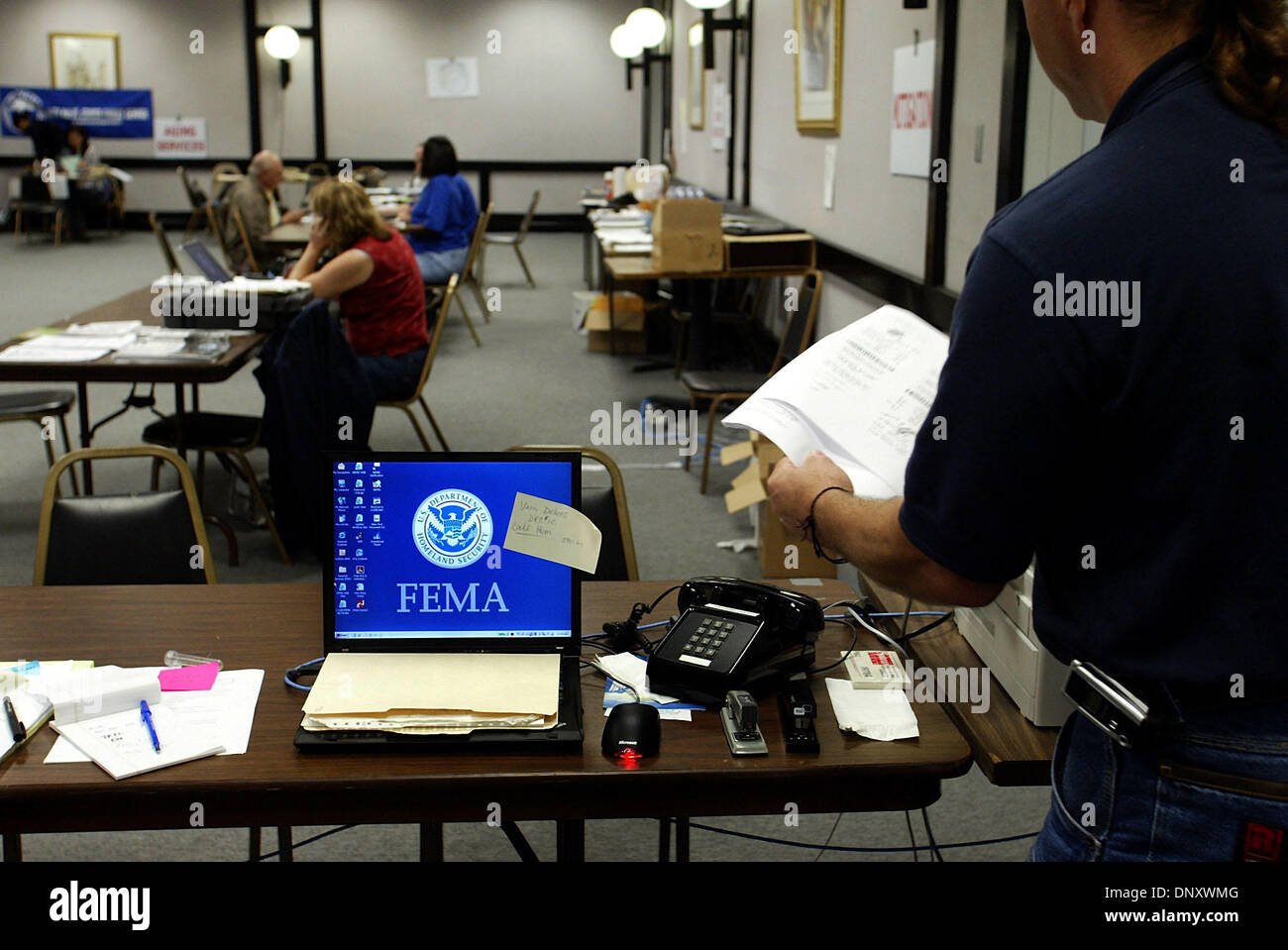 Jan 05, 2006; Delray Beach, FL, USA; FEMA and Small Business Administration assistants work in their makeshift headquarters Stock Photo