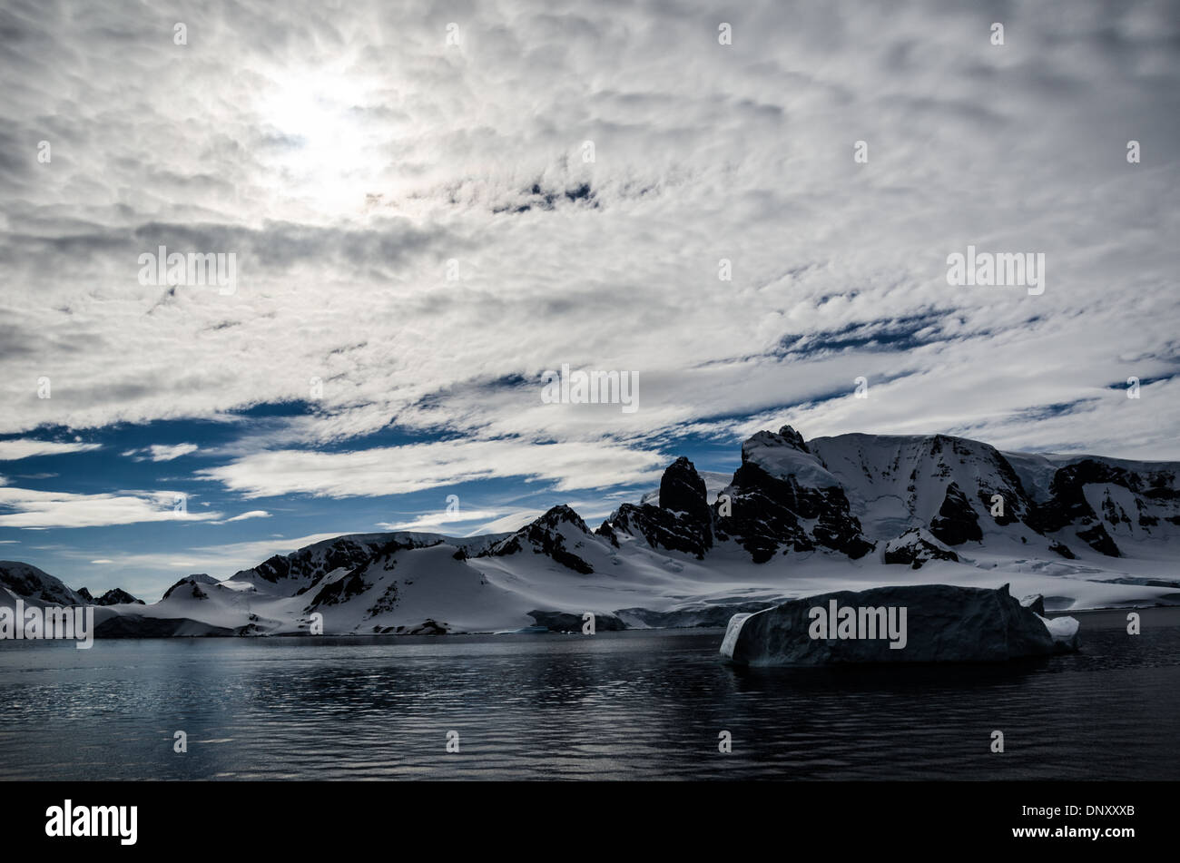 ANTARCTICA - A landscape shot of some of the rugged mountains of the Antarctic Peninsula of Cuverville Island. Stock Photo