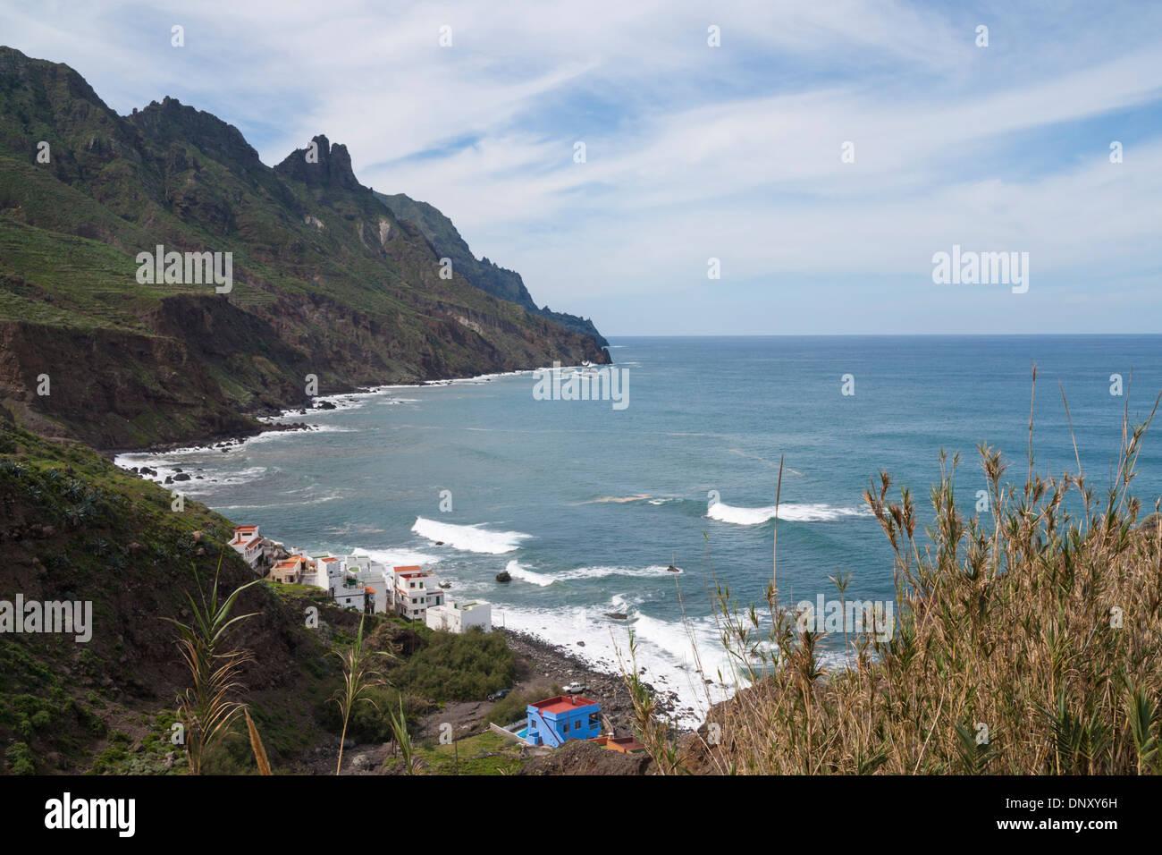 View over bar and houses on Taganana beach. Parque Rural de Anaga, Tenerife Canary Islands, Spain Stock Photo