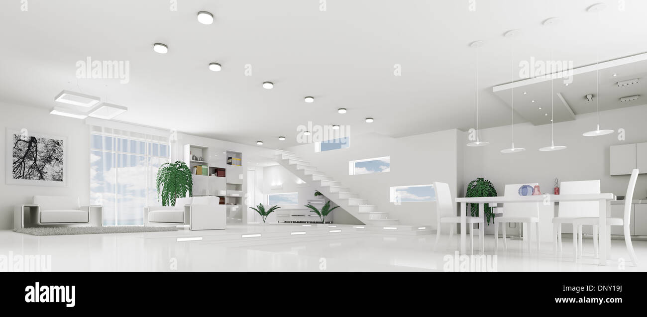 Interior of modern white apartment living room hall panorama 3d ...