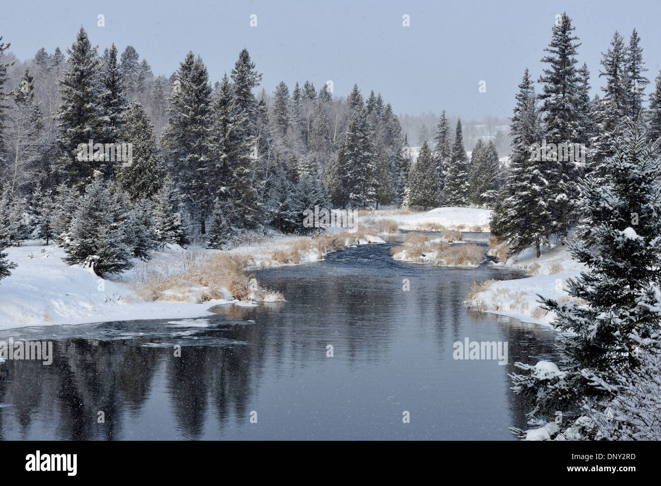 Open water of Junction Creek with an early winter snowfall, Greater Sudbury, Ontario, Canada Stock Photo