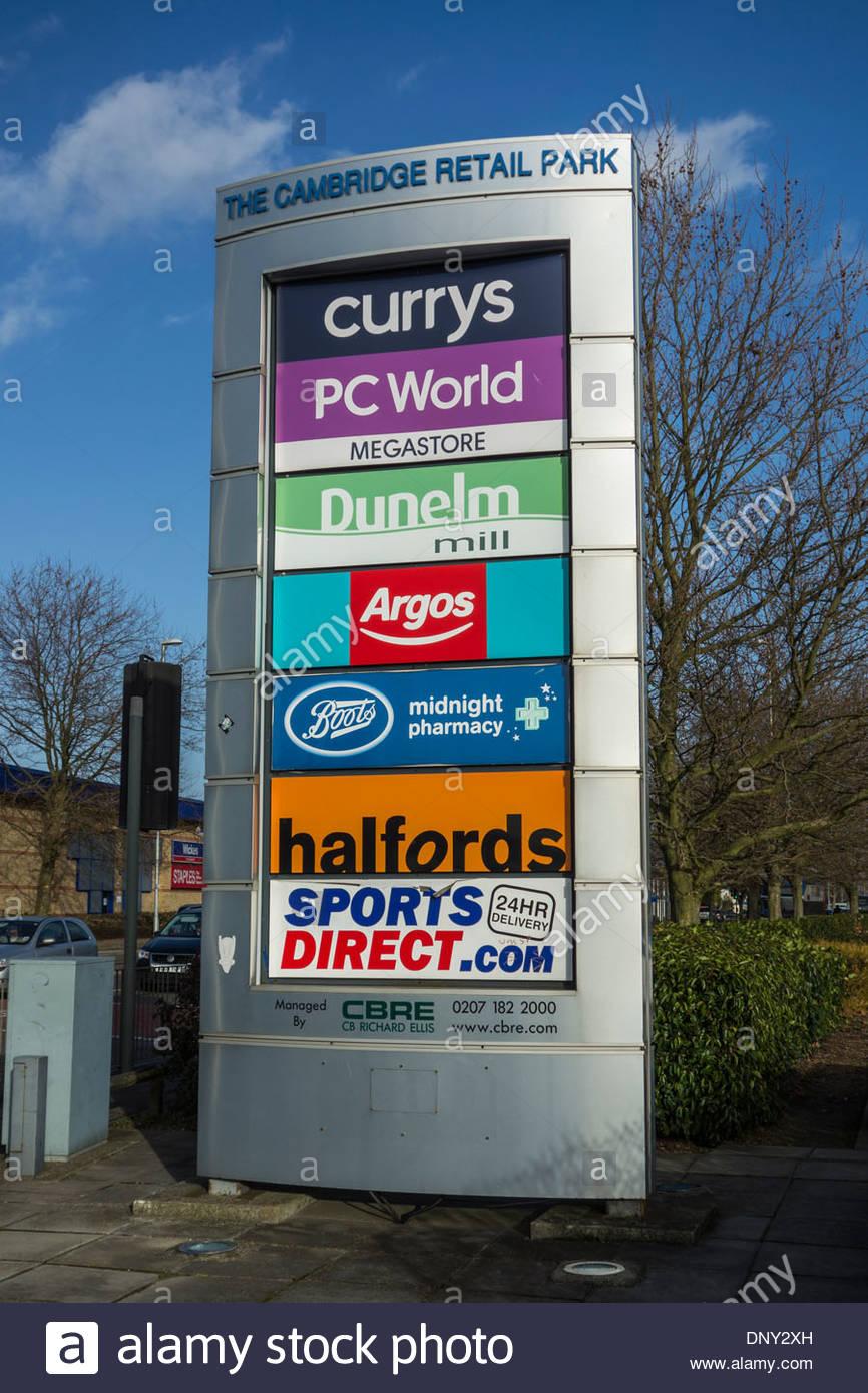 Cambridge Retail Park sign on Newmarket Road, Cambridge - Stock Image