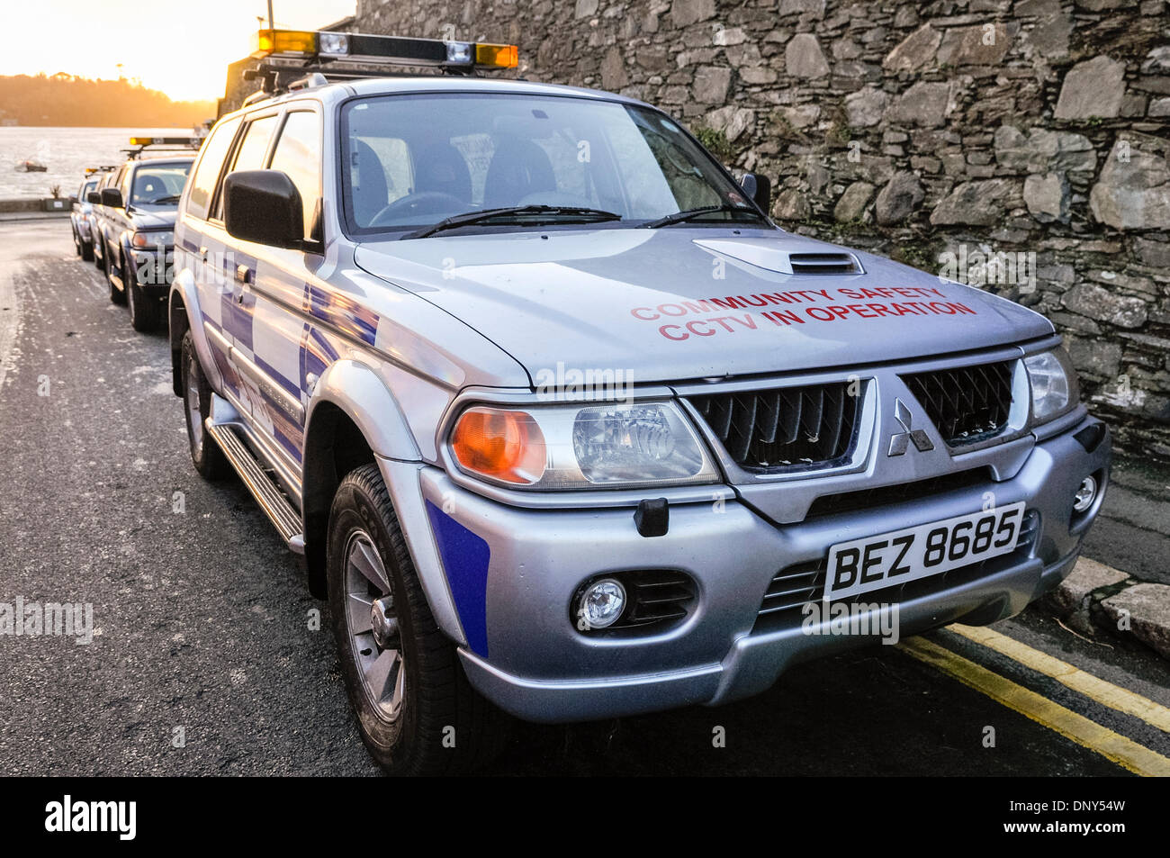 Portaferry, Northern Ireland. 6 Jan 2014 - Community Safety vehicles parked in readiness to help potential victims Stock Photo