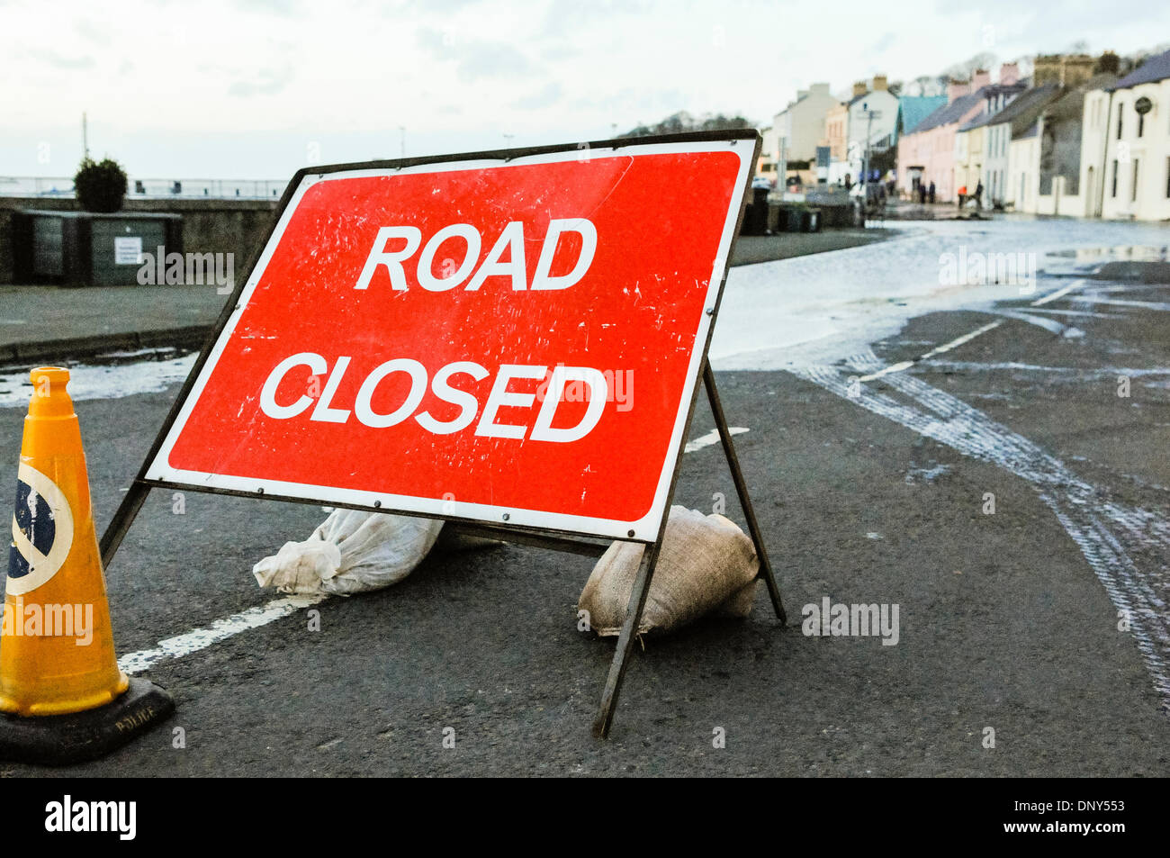 Portaferry, Northern Ireland. 6 Jan 2014 - The main road is closed due to flooding caused by the high tide in Portaferry, Stock Photo