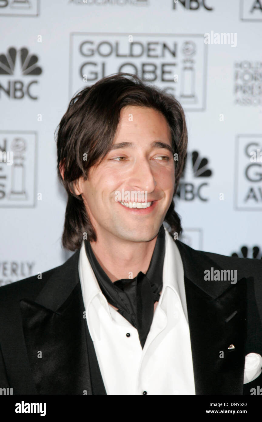 Jan 16, 2006; Beverly Hills, CA, USA; Golden Globes 2006: Actor ADRIEN BRODY in the press room at the 63rd Annual Golden Globe Awards held at the Beverly Hilton Hotel. Mandatory Credit: Photo by Lisa O'Connor/ZUMA Press. (©) Copyright 2006 by Lisa O'Connor - Stock Image
