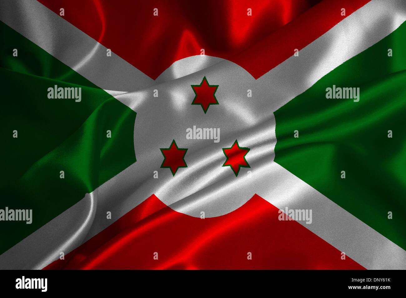 Burundi flag on satin texture. - Stock Image