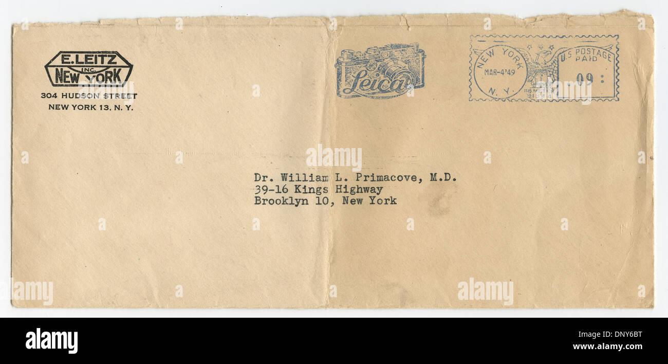 Vintage Leica Camera envelope postmarked 4 Mar 1949, New York, New York - Stock Image
