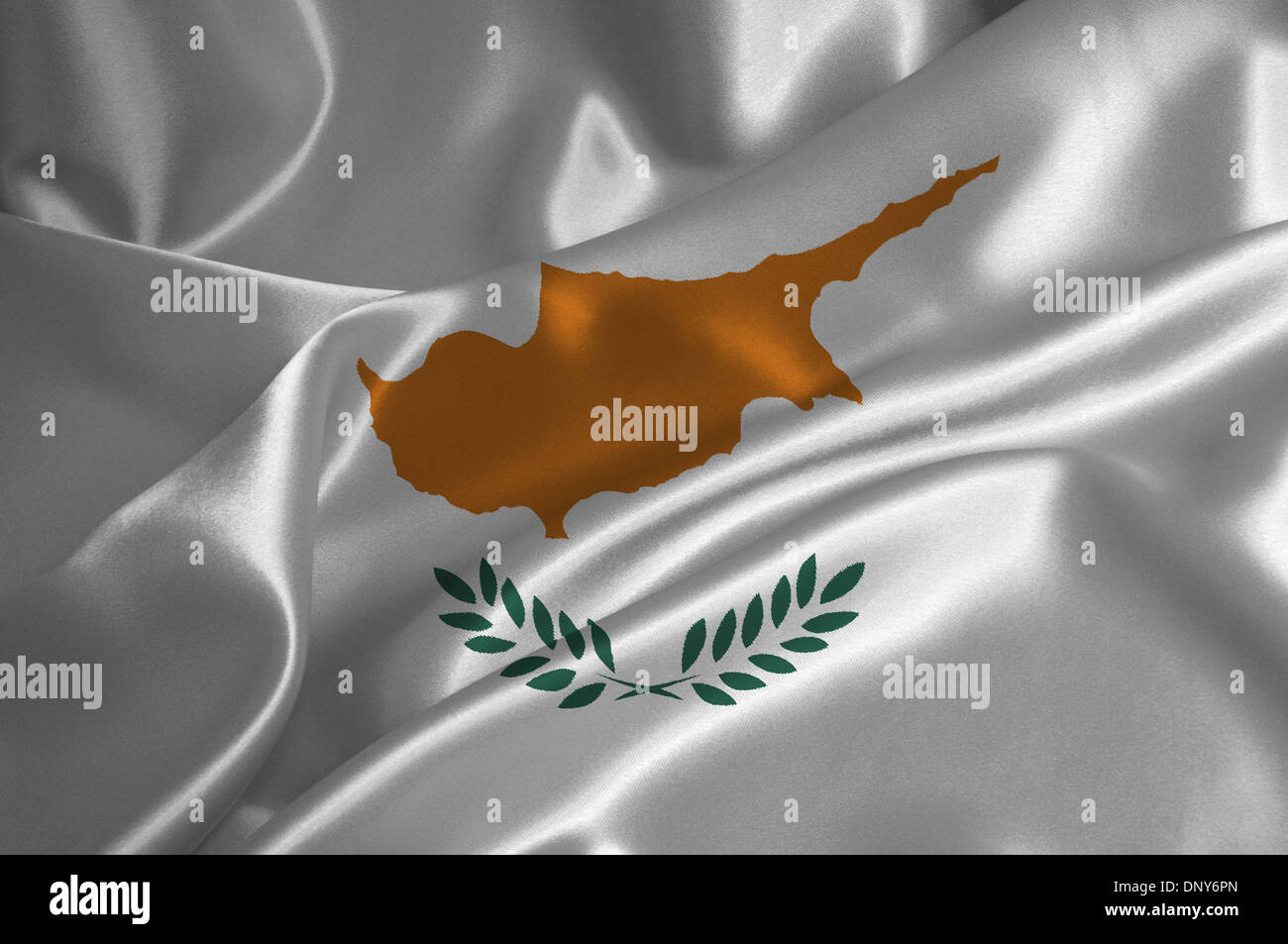 Cyprus flag on satin texture. - Stock Image