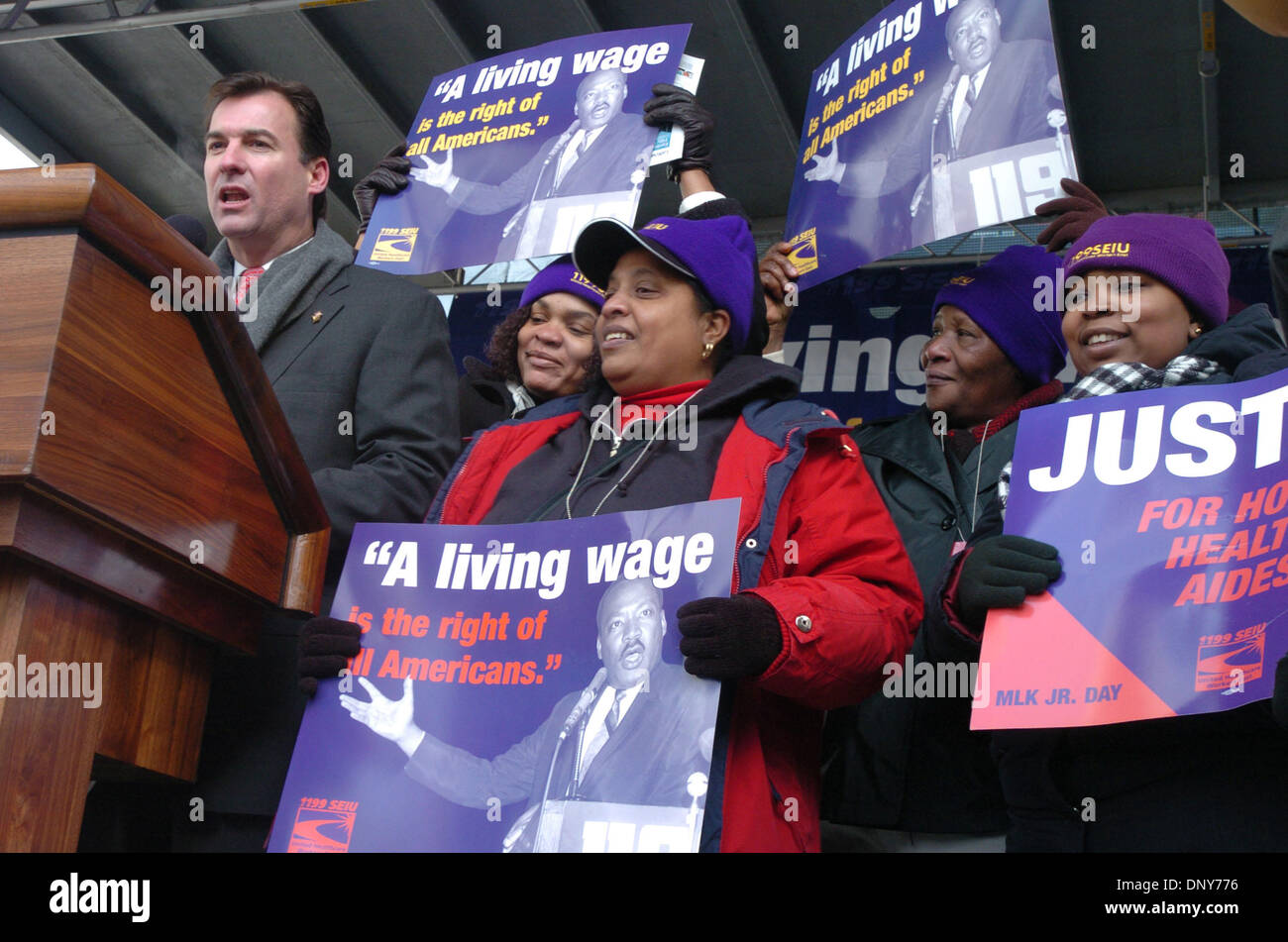 Jan 16, 2006; Manhattan, New York, USA; Nassau County Executive TOM SUOZZI speaks as thousands of members and supporters of 1199 Service Employees International Union (SEIU) honor Dr. Martin Luther King with a march and rally in Harlem demanding justice for home health aides. 30,000 Aides provide care for elderly and sick New Yorkers and make about $7 hour with no health benefits a - Stock Image