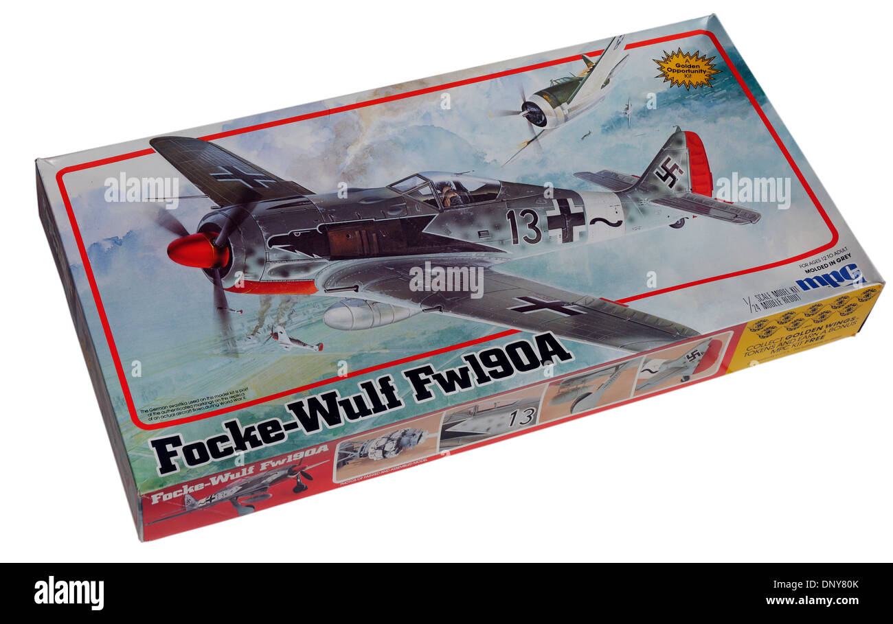 A 1/24th scale Focke Wulf FW-190 plastic scale model kit - Stock Image