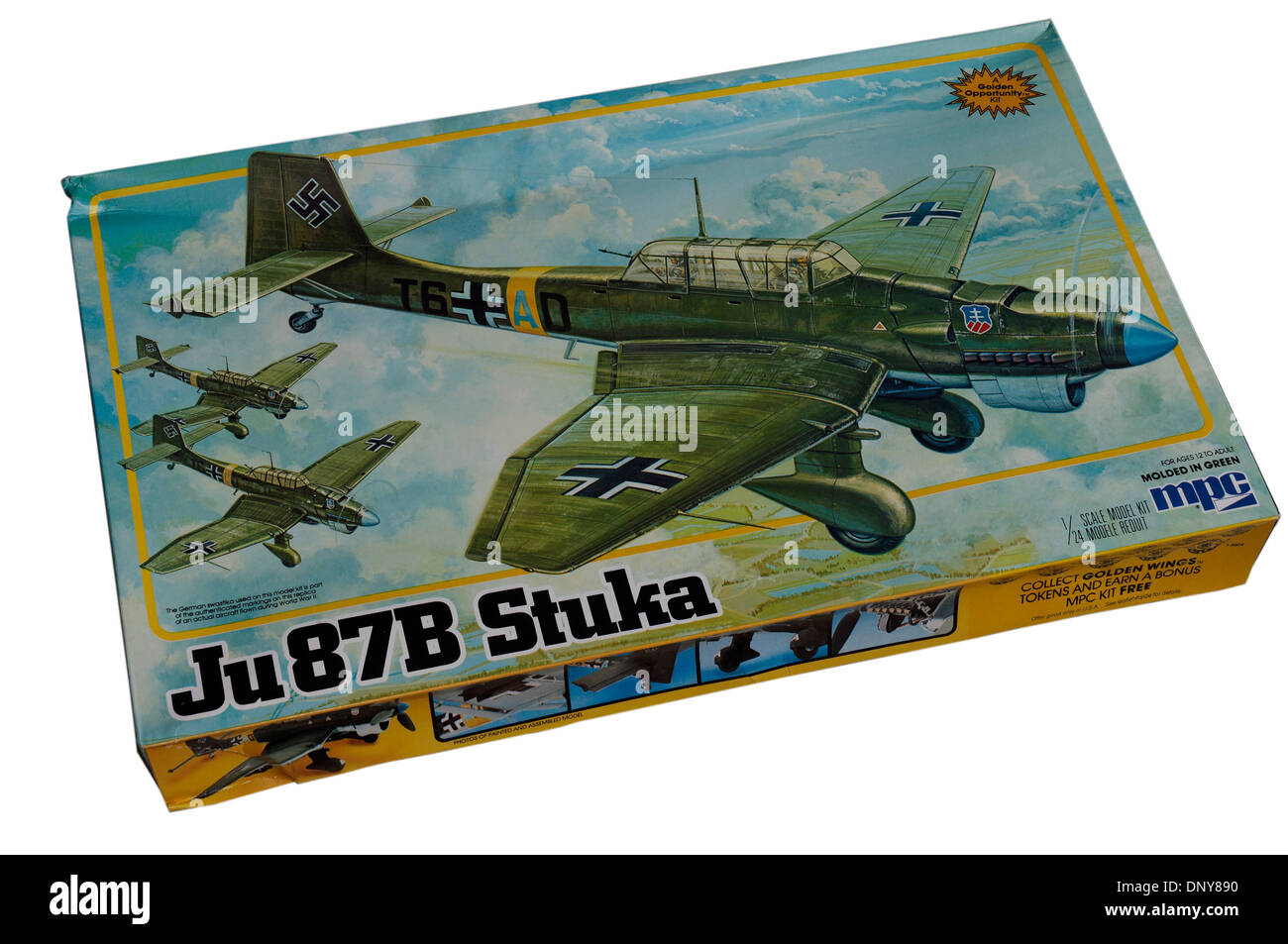 A 1/24th scale Junkers Ju-87 Stuka dive bomber plastic scale model kit - Stock Image