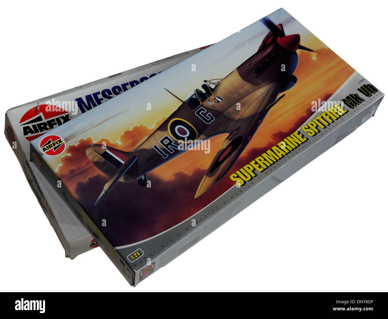 The classic 1/24th scale airfix Spitfre and Messerschmitt Me-109 plastic scale model kits - Stock Image