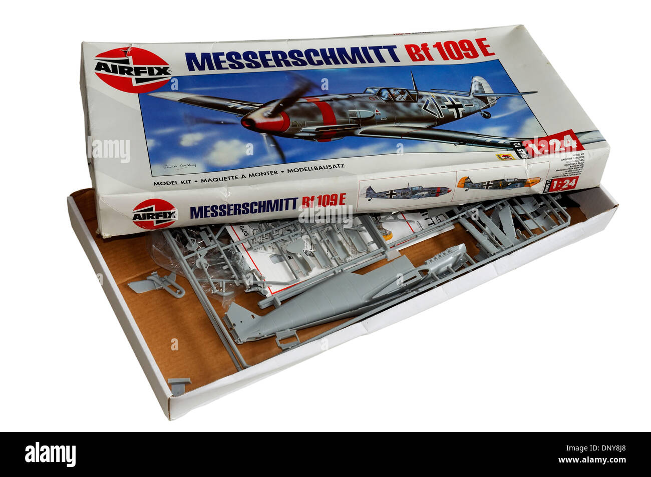The classic 1/24th scale airfix Messerschmitt Me-109 plastic scale model kit - Stock Image