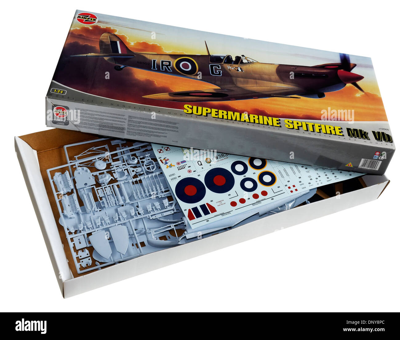 The classic 1/24th scale airfix Spitfre plastic scale model kit - Stock Image