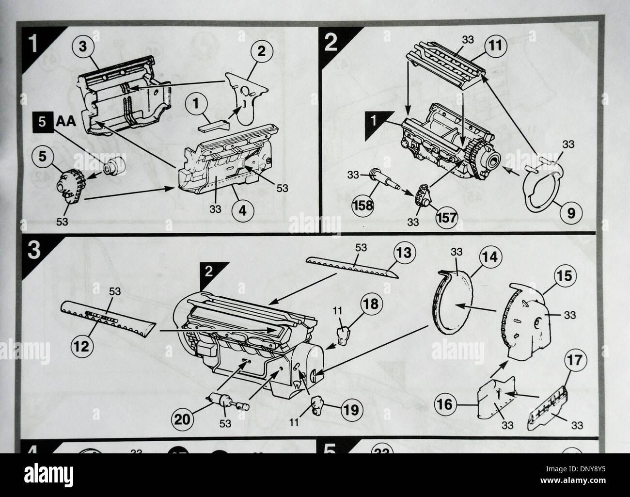 Airfix kit assembly instructions - Stock Image