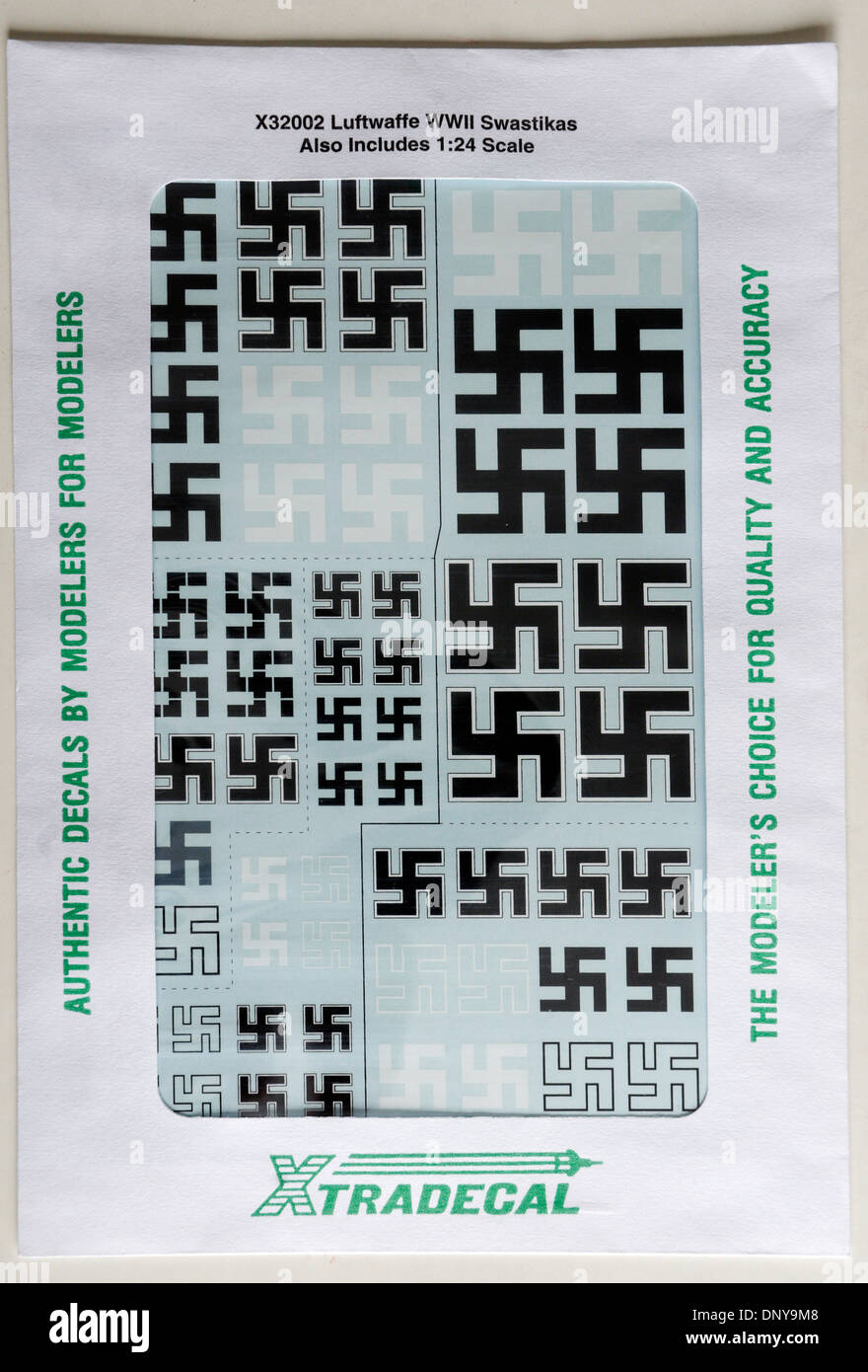 Swastika Decals for Plastic Scale Modelling. Kits of German WW2 planes are supplied without the swastika, but you can buy them. - Stock Image