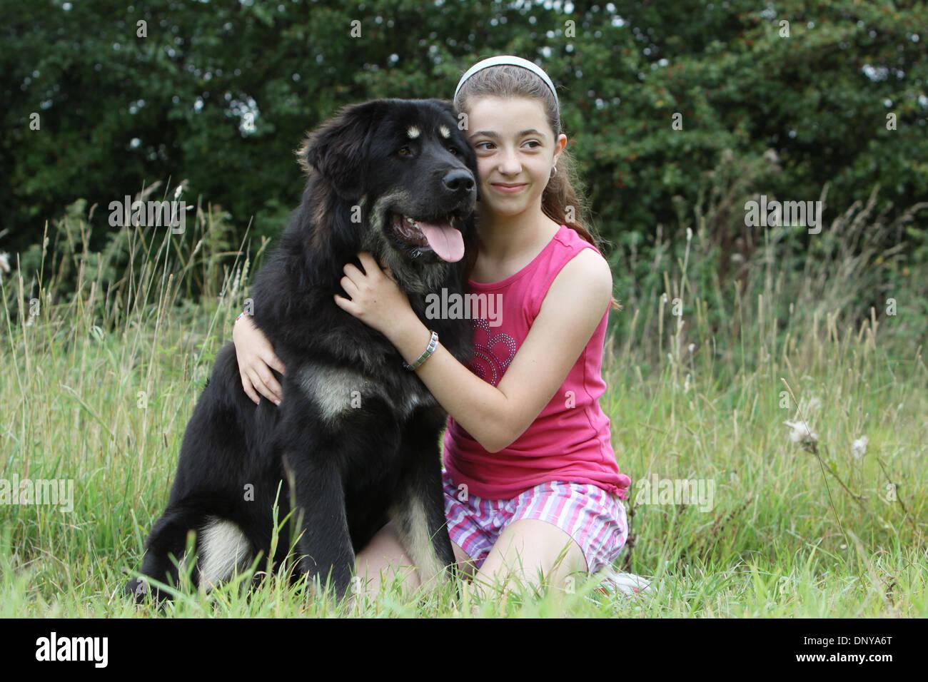Dog Tibetan Mastiff / do-khyi / Tibetdogge adult and two girls - Stock Image