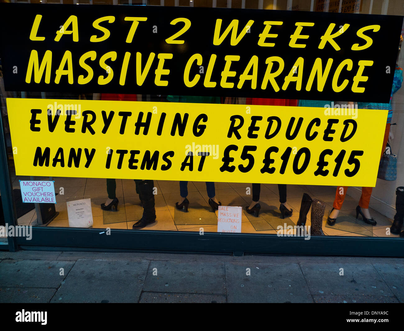 Clearance sale of fashion clothing, Leicester, UK - Stock Image