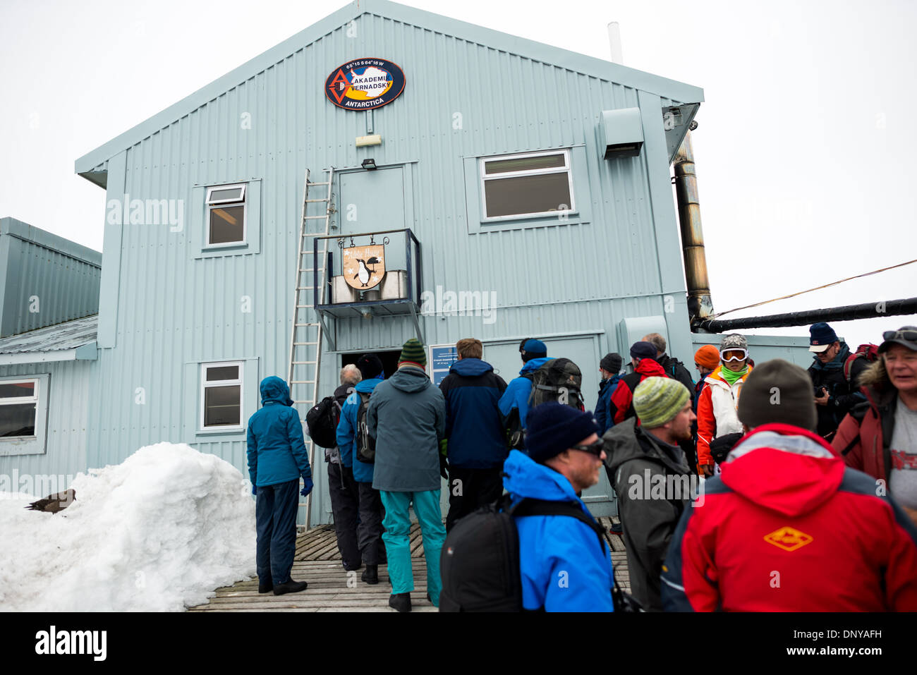 ANTARCTICA - Tourists line up to enter the Ukrainian Vernadsky scientific research base on the Antarctic Peninsula. Originally established by the British first as Base F in the British Falkland Islands Dependencies and later as Faraday Station, it was transferred to the Ukraine in 1996 and renamed Vernadsky Research Base after Soviet mineralogist Vladimir Vernadsky. - Stock Image
