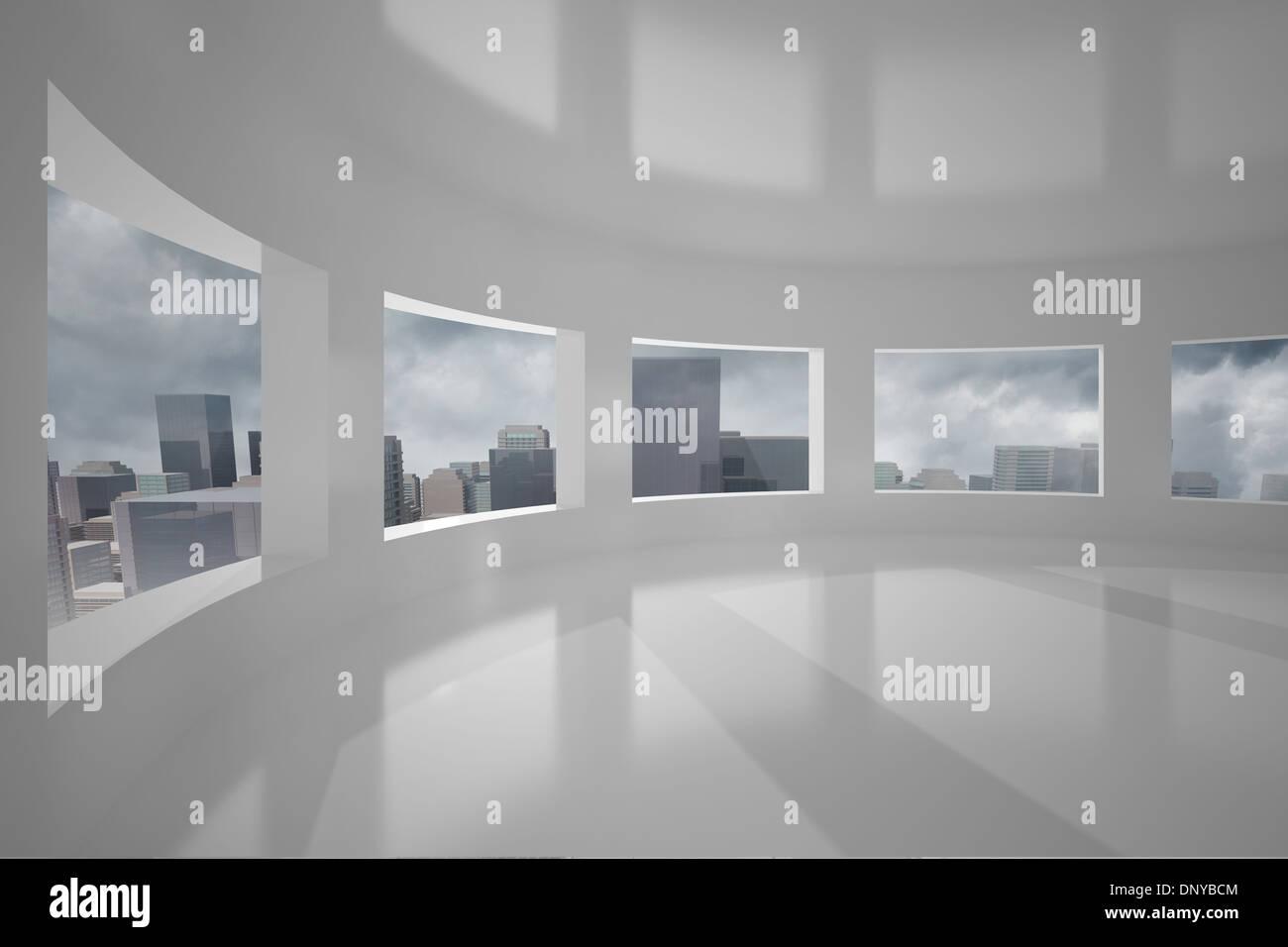 Cityscape seen through windows - Stock Image