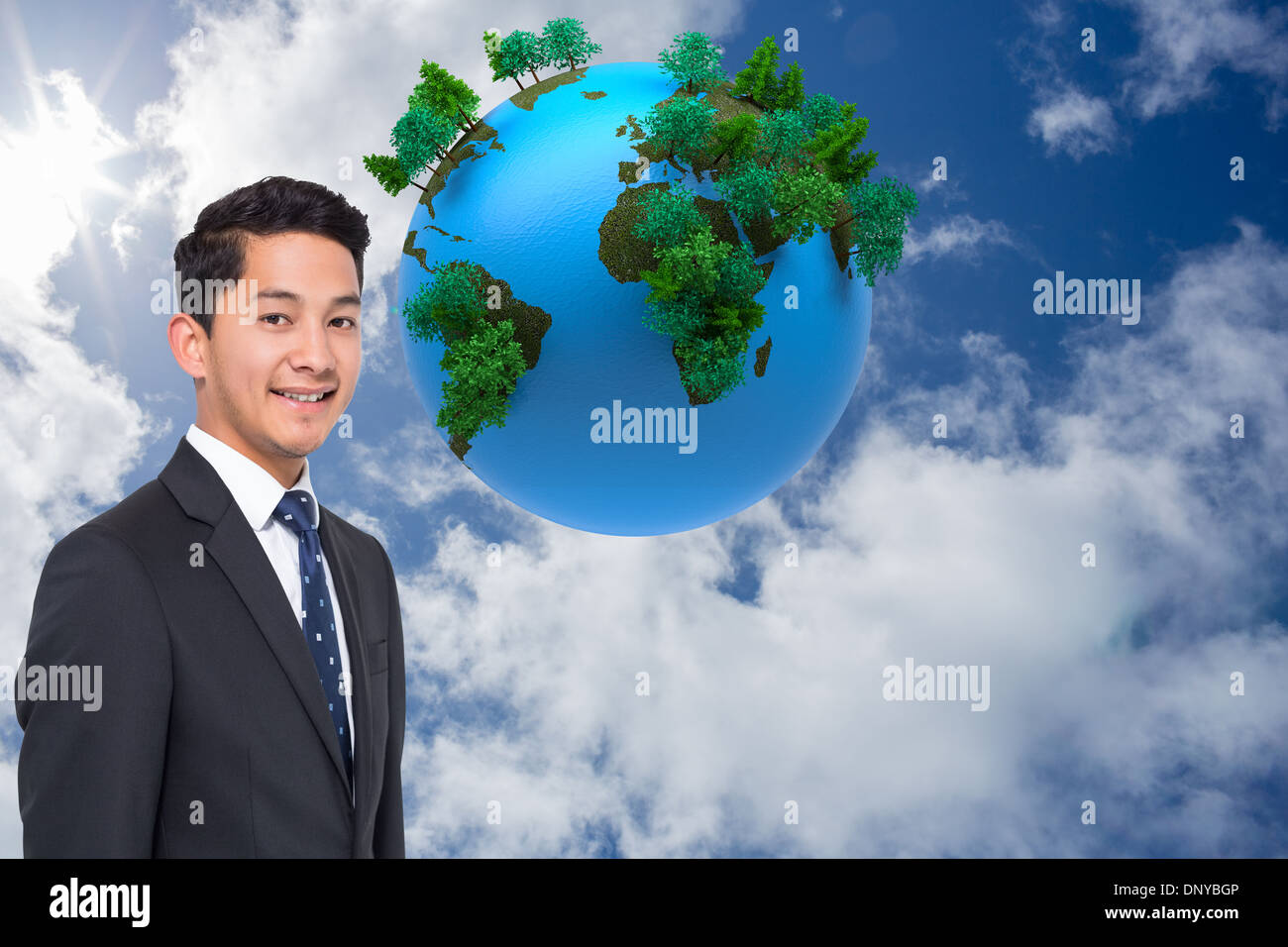 Composite image of digitally generated earth floating in air Stock Photo