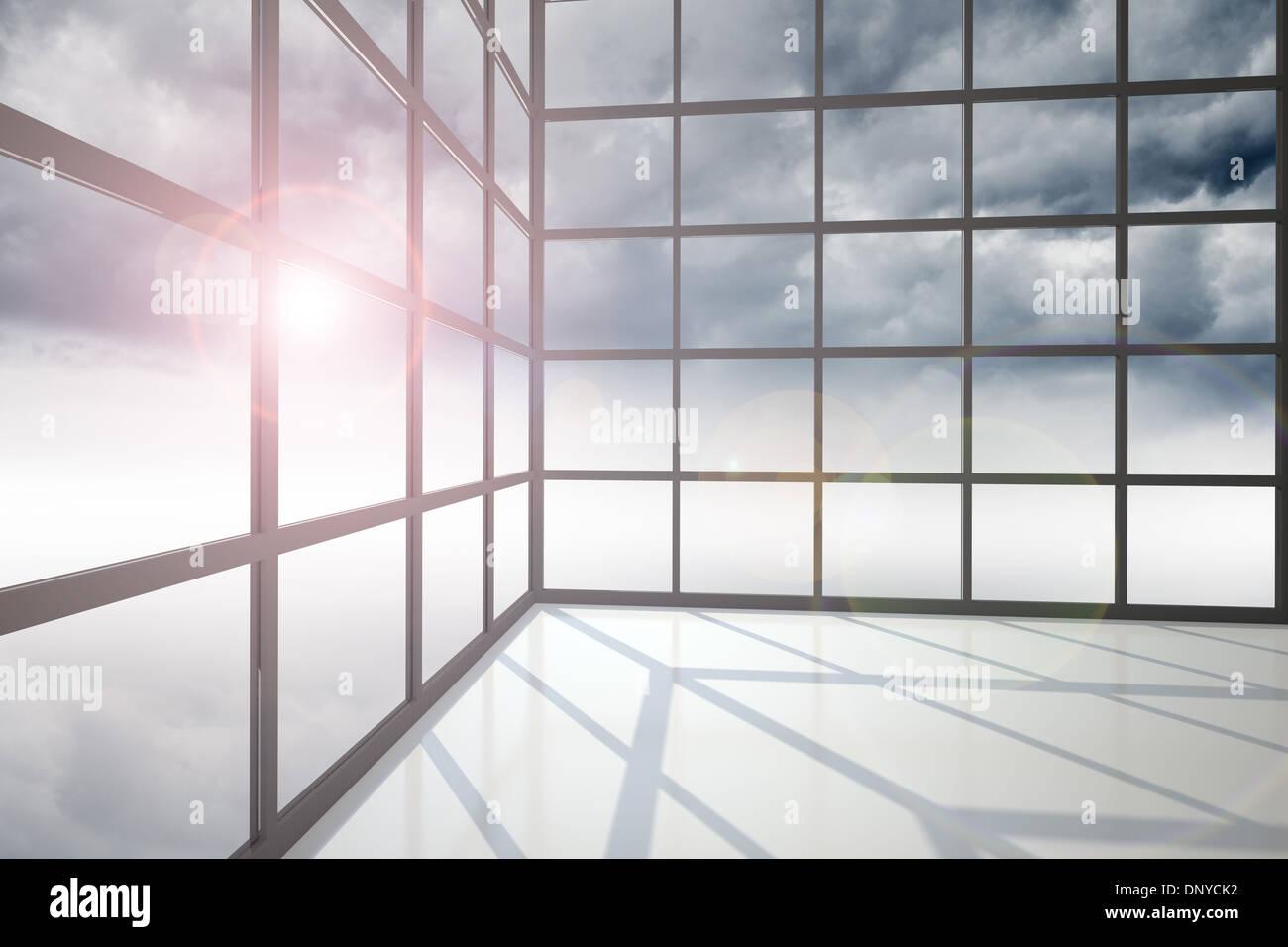 Gloomy sky seen through windows - Stock Image