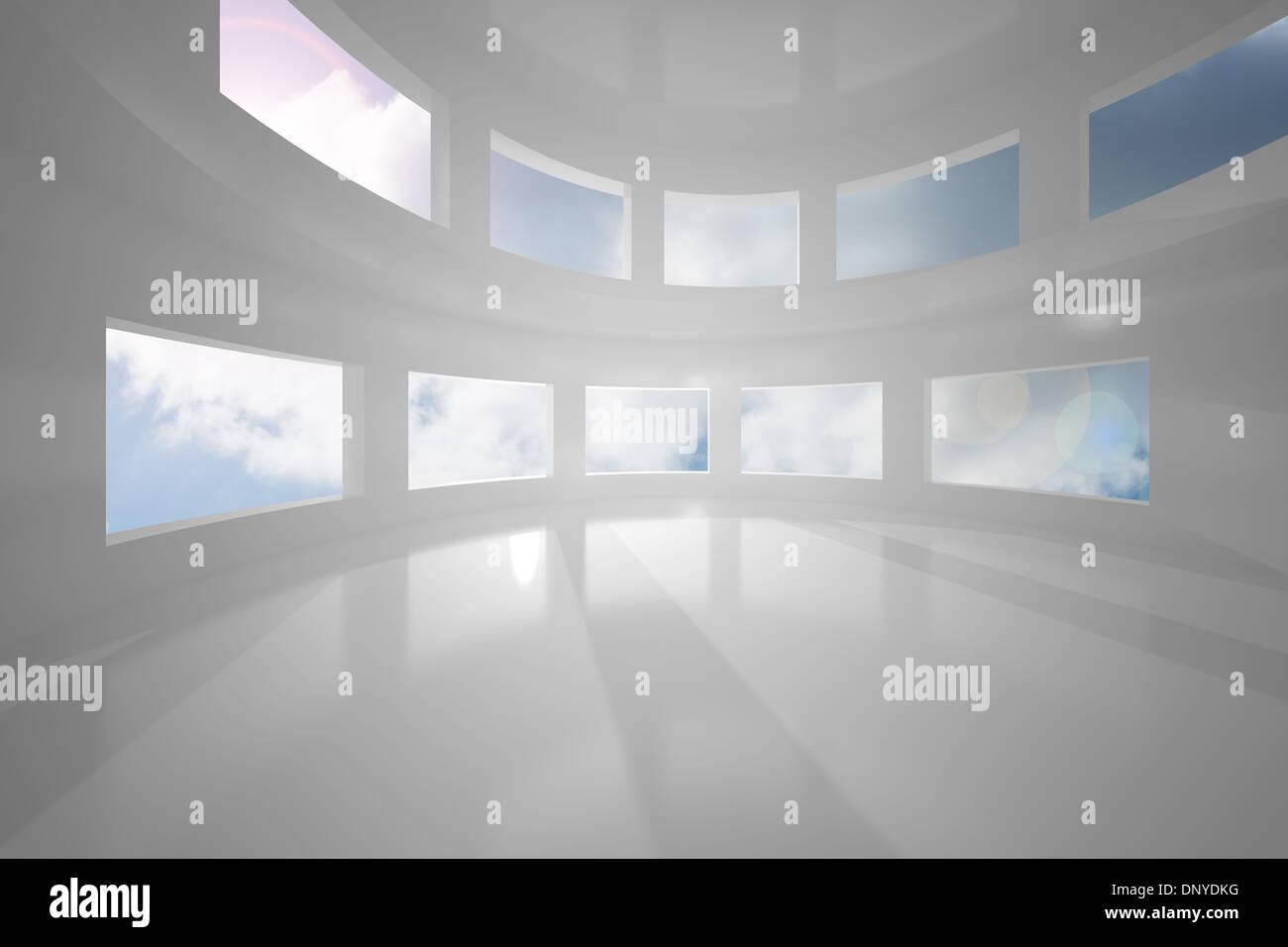 Sun shining through windows - Stock Image