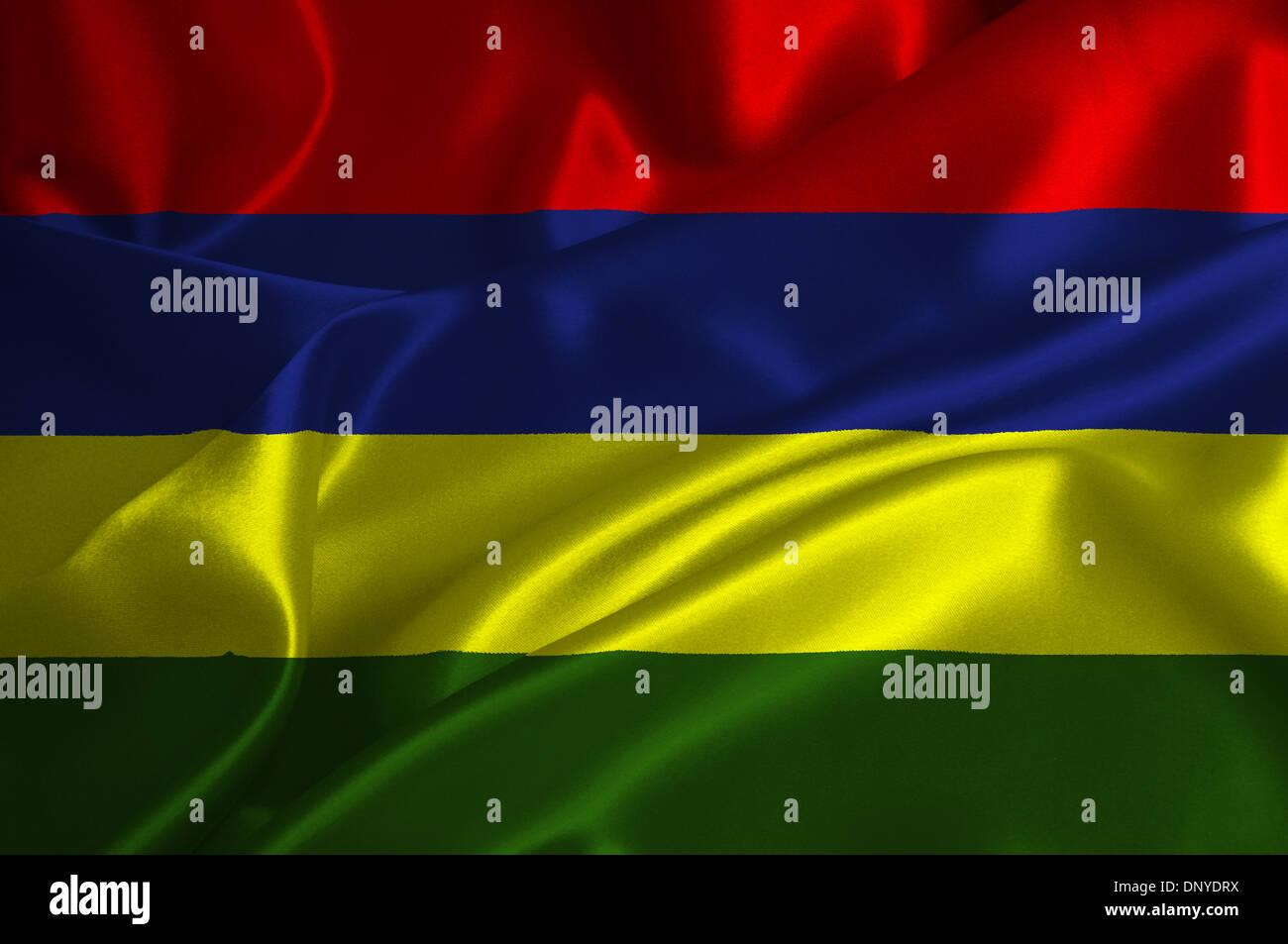Mauritius flag on satin texture. - Stock Image