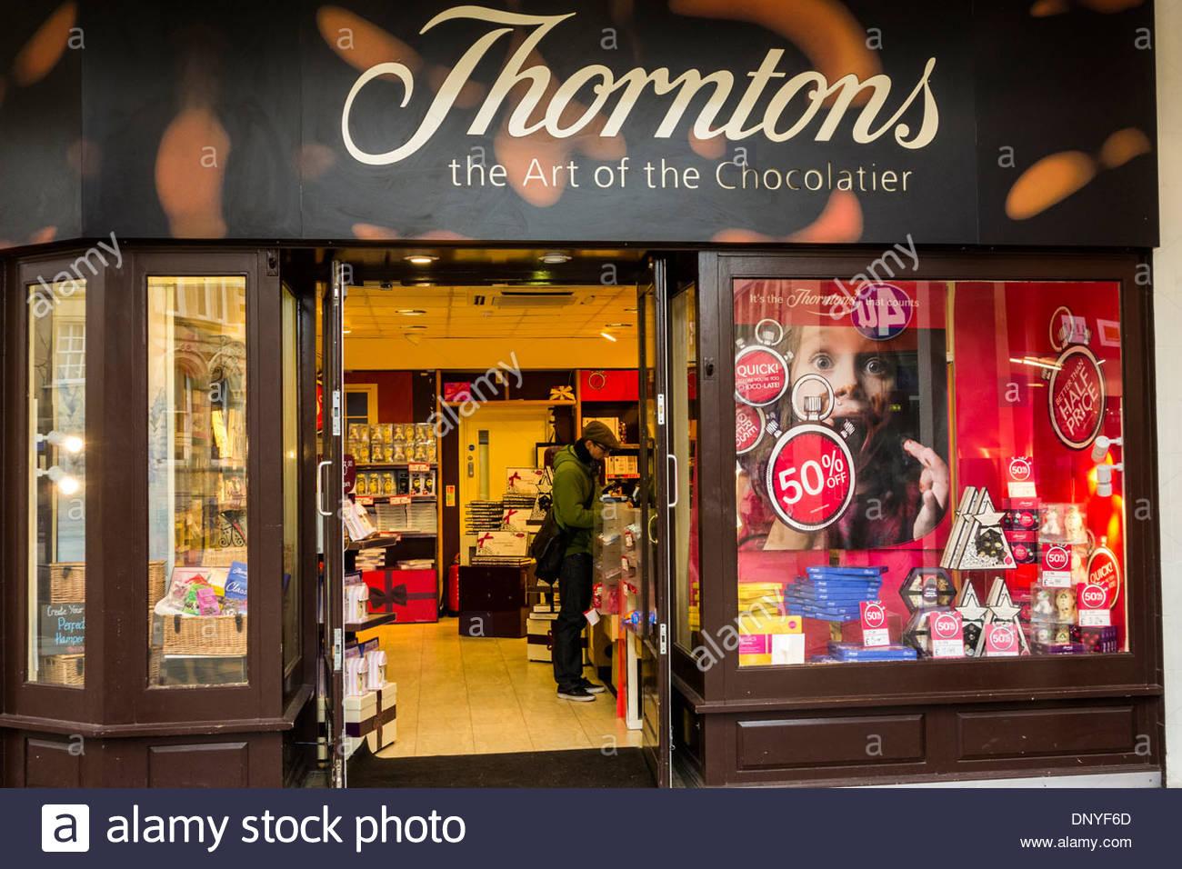 Thorntons sweet and chocolate shop in Cambridge, England, UK - Stock Image
