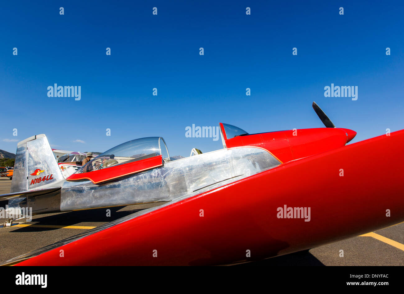 Van's Aircraft RV8; Antique and modern airplanes at the annual Salida ArtWalk Fly-In event Stock Photo