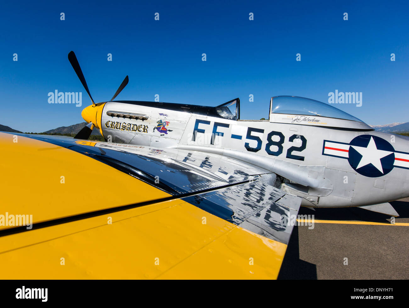North American Aviation P-51 Mustang was an American long-range, single-seat fighter and fighter-bomber - Stock Image
