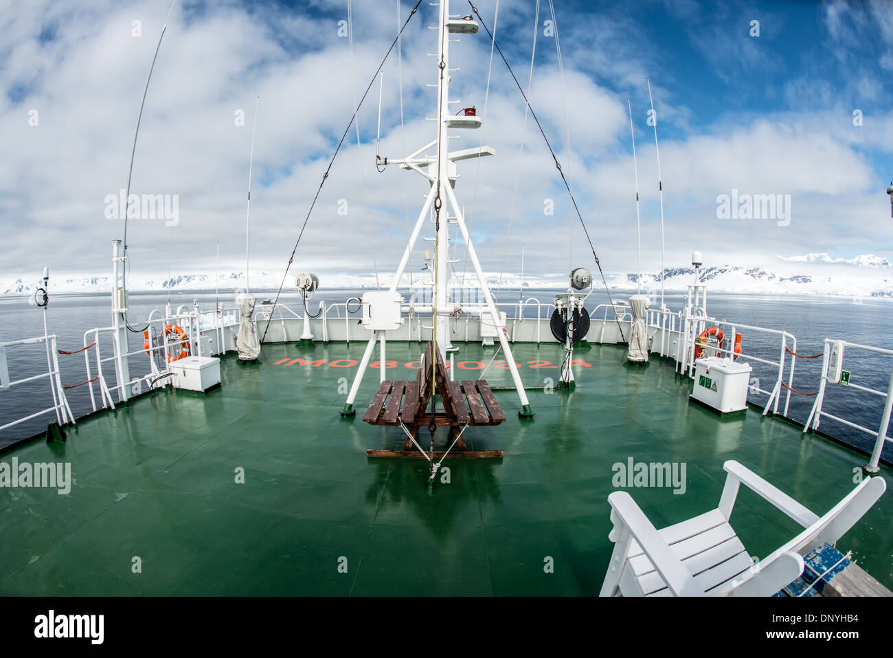 ANTARCTICA - A wide-angle shot of the upper decks of the Polar Pioneer, an Antarctic cruise ship operated by Aurora Expeditions. - Stock Image