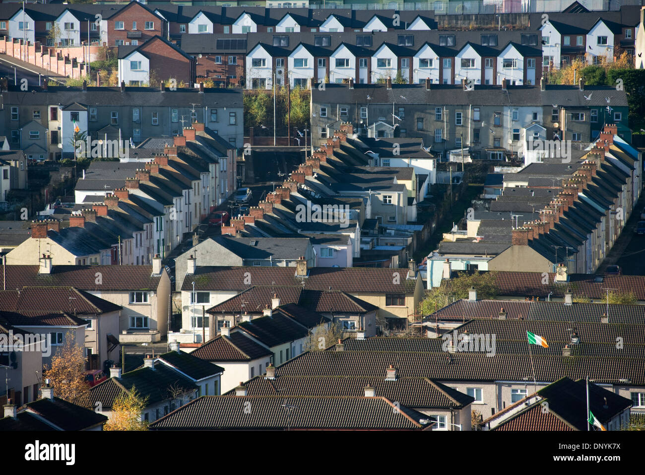 Terraced houses in the Bogside, Derry, Londonderry, Northern Ireland. - Stock Image