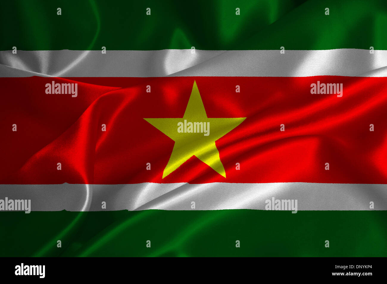 Suriname flag on satin texture. - Stock Image